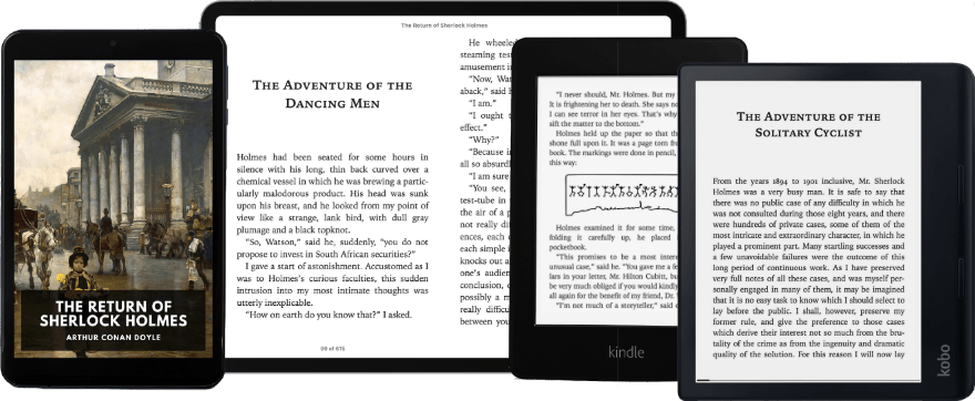 Ereaders with a Standard Ebook open.