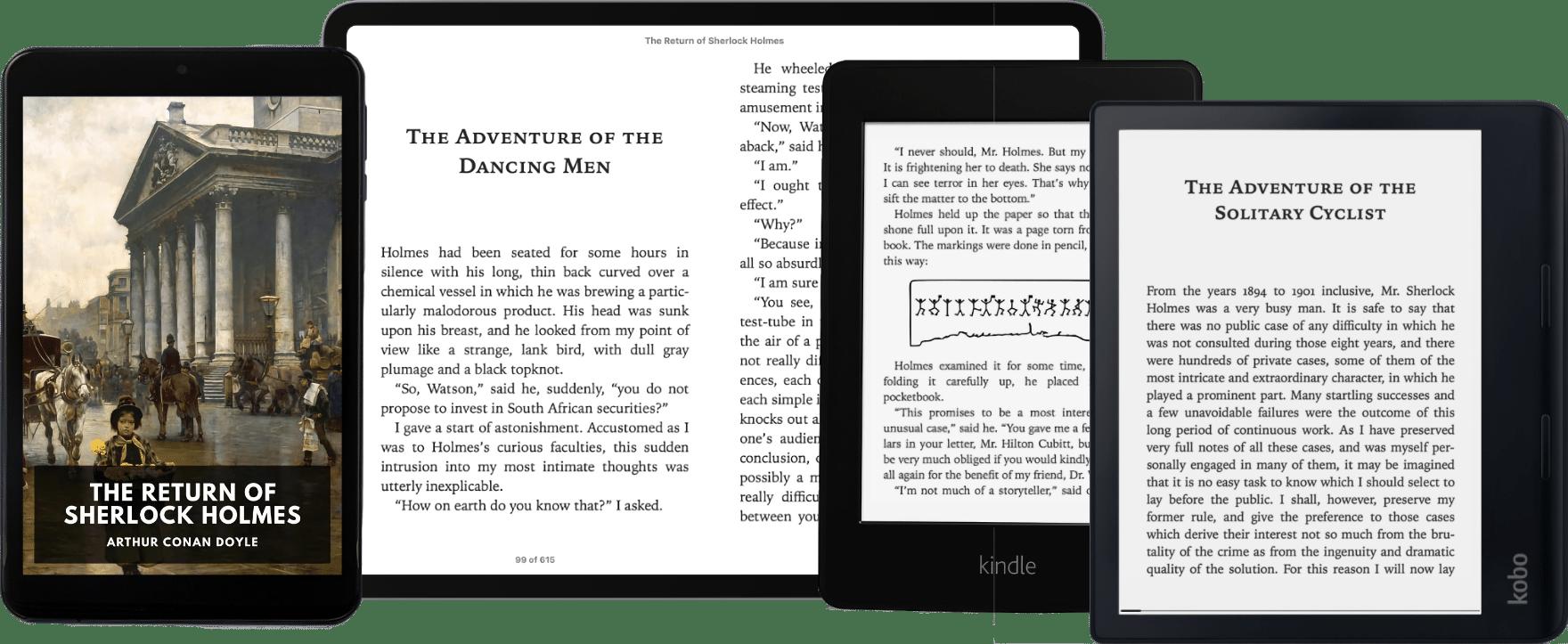 Ereaders with a Standard Ebook open.