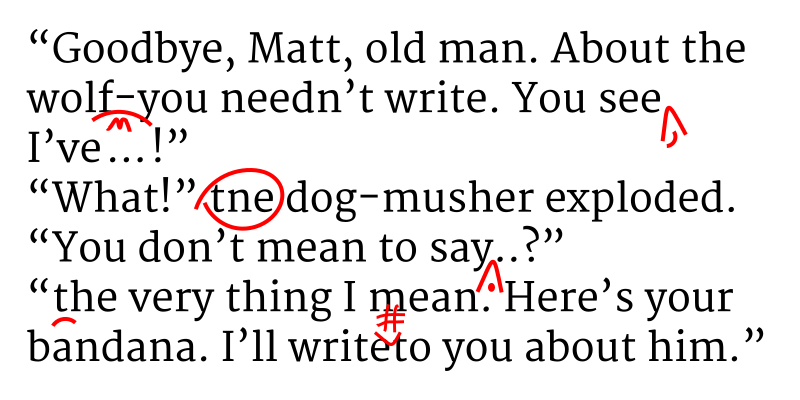 A text with proofreader's marks.