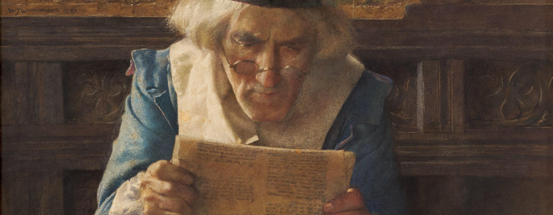 An old man in Renaissance-era costume reading a sheet of paper.